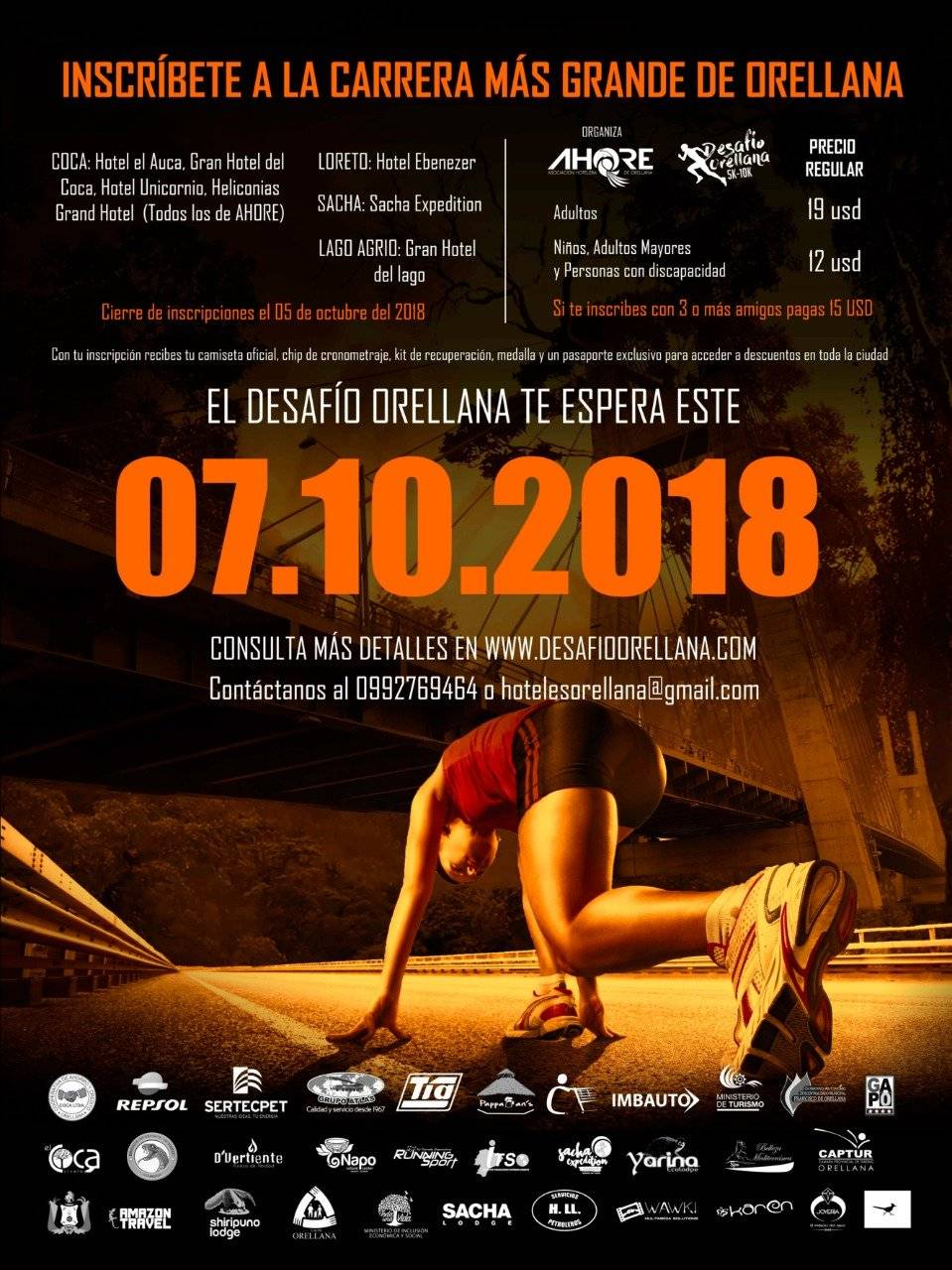 Segunda edición de la Carrera Atlética Desafío Orellana 5K-10K