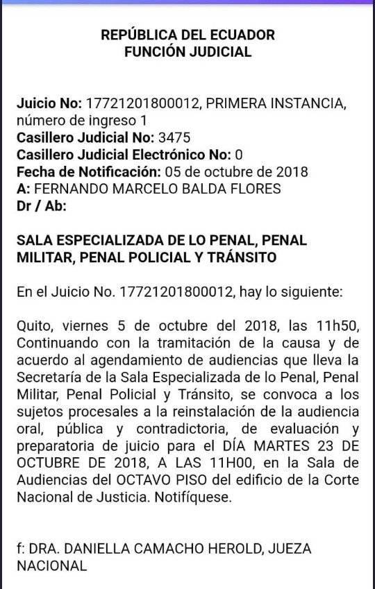 El 23 de octubre se sabrá si Correa es llevado ante la justicia por secuestro en el caso Balda
