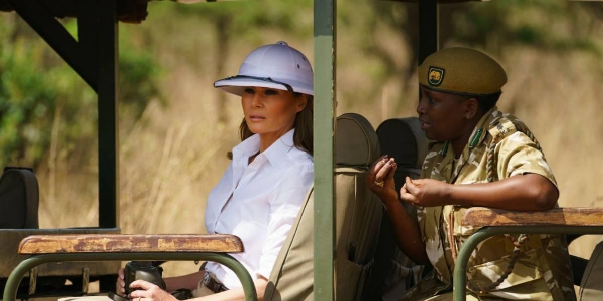 Nuevo escándalo por la tenida de Melania Trump: sombrero colonialista en su gira por África desata la indignación