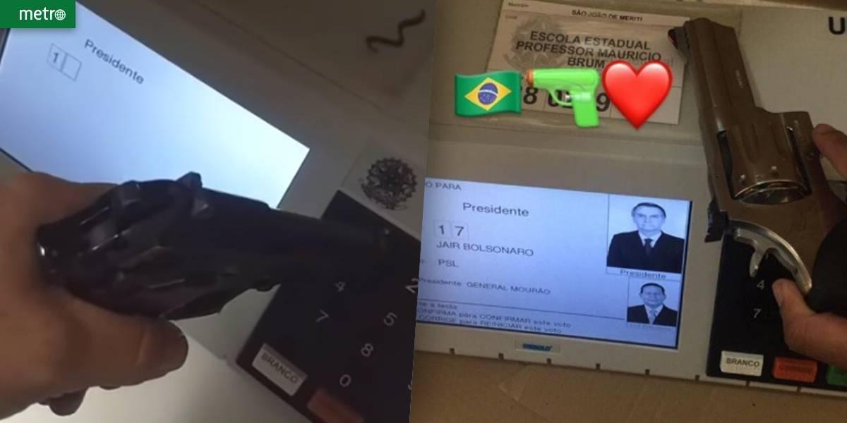 Eleitores levam armas para votar e compartilham imagens nas redes sociais