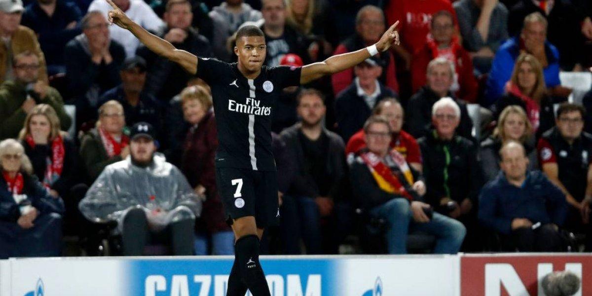 Kylian Mbappé marcó cuatro tantos en 13 minutos en la goleada de PSG a Lyon