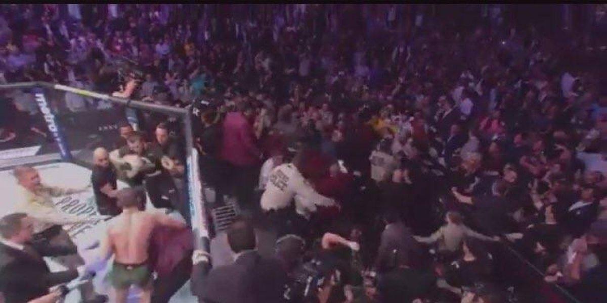 VIDEO: Así fue la pelea campal al final del combate entre McGregor y Khabib