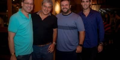 No coquetel de abertura da temporada de pesca oceânica: Fabiano Pereira, Evandro Carneiro, Mario Buzato e Pedro Henrique