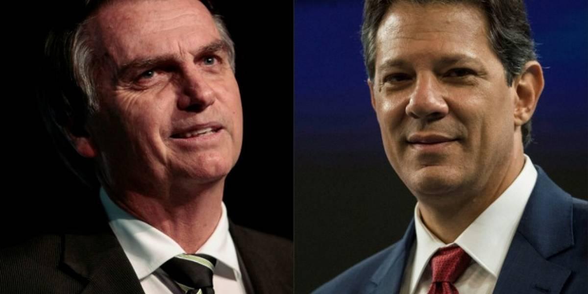 Bolsonaro y Haddad, en carrera por segunda vuelta en Brasil