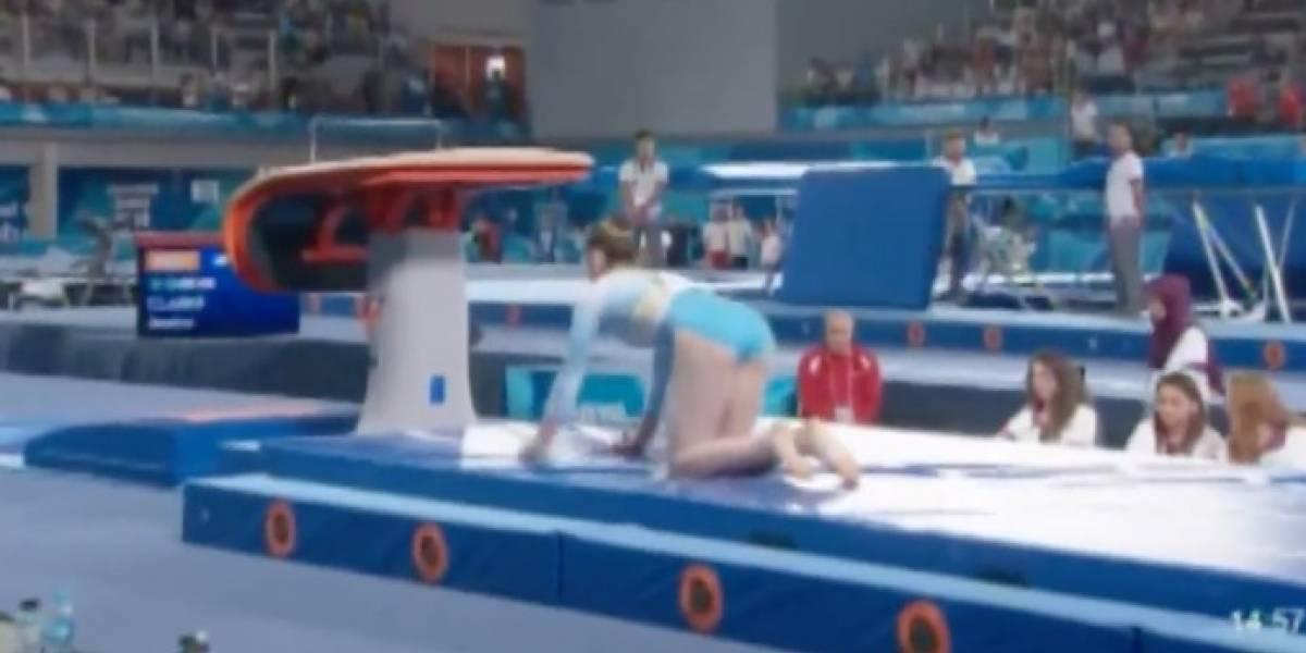 VIDEO: La terrible caída de una gimnasta que conmovió en los Juegos de la Juventud
