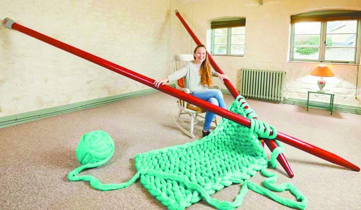Agulhas de tricô gigantes