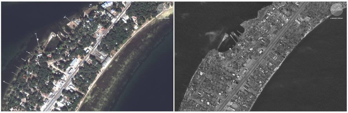 Esta combinación fotográfica de imágenes satelitales proporcionadas por DigitalGlobe muestra Long Point Park Highway 98 en la ciudad de Panamá, Florida, el 17 de noviembre de 2017, a la izquierda, antes del huracán Michael y el 11 de octubre de 2018, a la