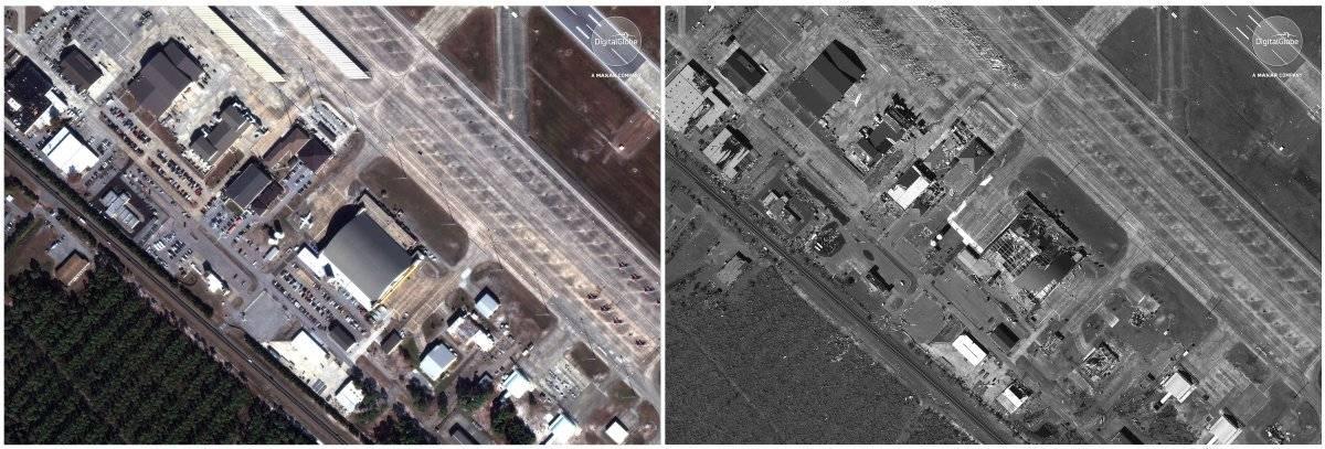 Esta combinación fotográfica de imágenes satelitales proporcionadas por DigitalGlobe muestra la Base de la Fuerza Aérea Tyndall cerca de la Ciudad de Panamá, Florida, el 17 de noviembre de 2017, a la izquierda, antes del huracán Michael y el 11 de octubre