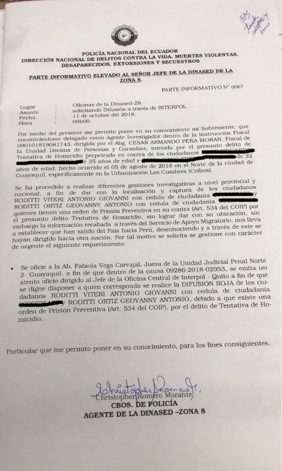 Policía pide a Interpol emitir difusión roja a los Roditti
