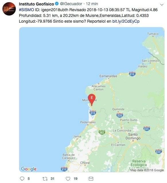 Sismo se registró en Muisne, Esmeraldas