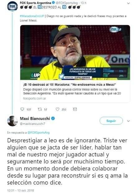 Maradona en contra de Messi