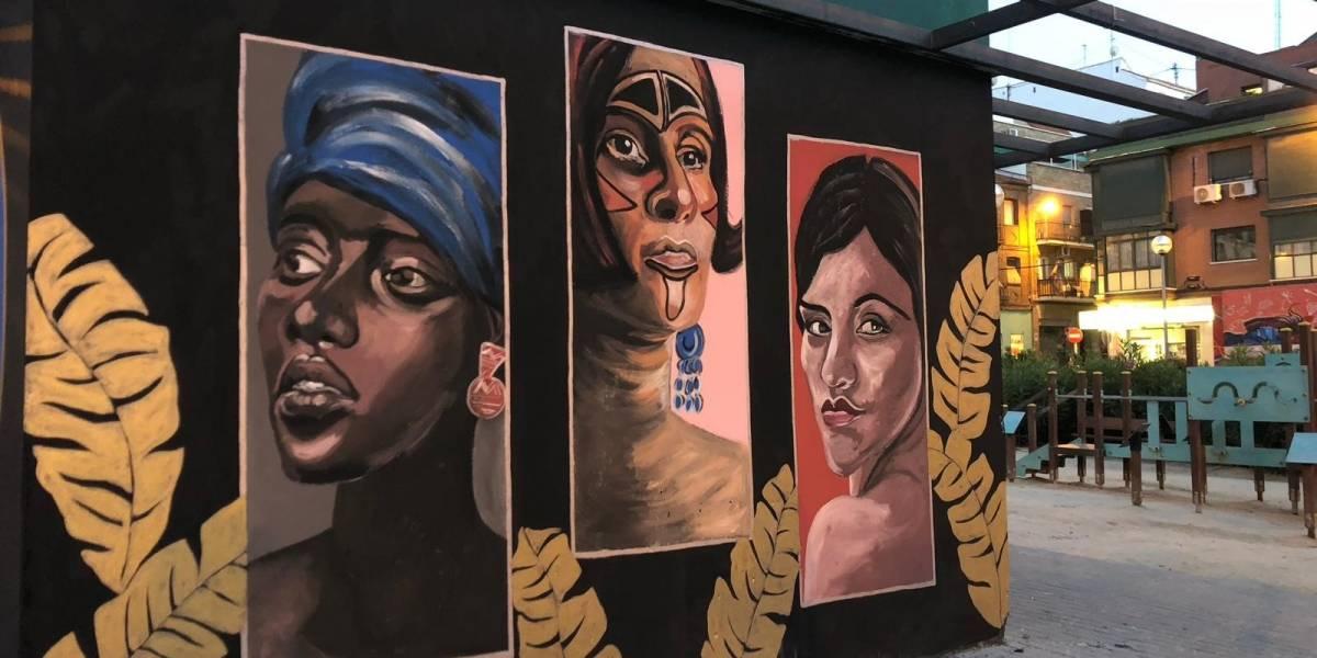 Dominicanos realizan 10 murales en la Plaza del Poeta Leopoldo de Luis en Madrid