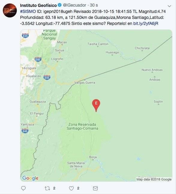 Sismo se registró en Morona Santiago