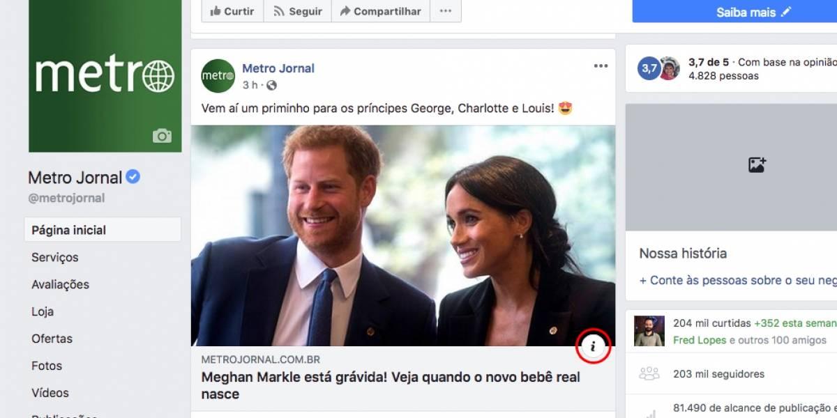 Facebook lança 'botão de contexto' para enfrentar 'fake news'; saiba mais