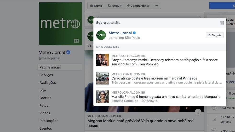 Facebook - página do Metro - botão de contexto