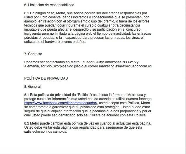 Términos y condiciones del sorteo para conocer a Andrés Cepeda Captura de pantalla