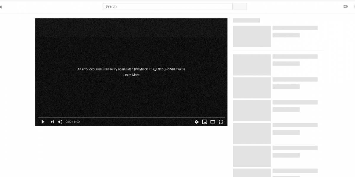 YouTube falla a nivel mundial