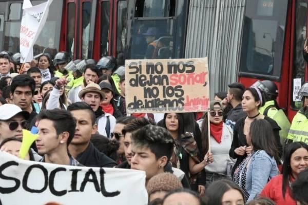 Las vías congestionadas en Bogotá por marchas de este jueves
