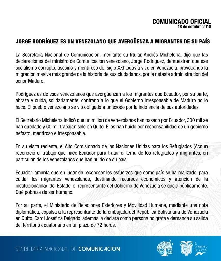 Pronunciamiento de Andrés Michelena, Secom.