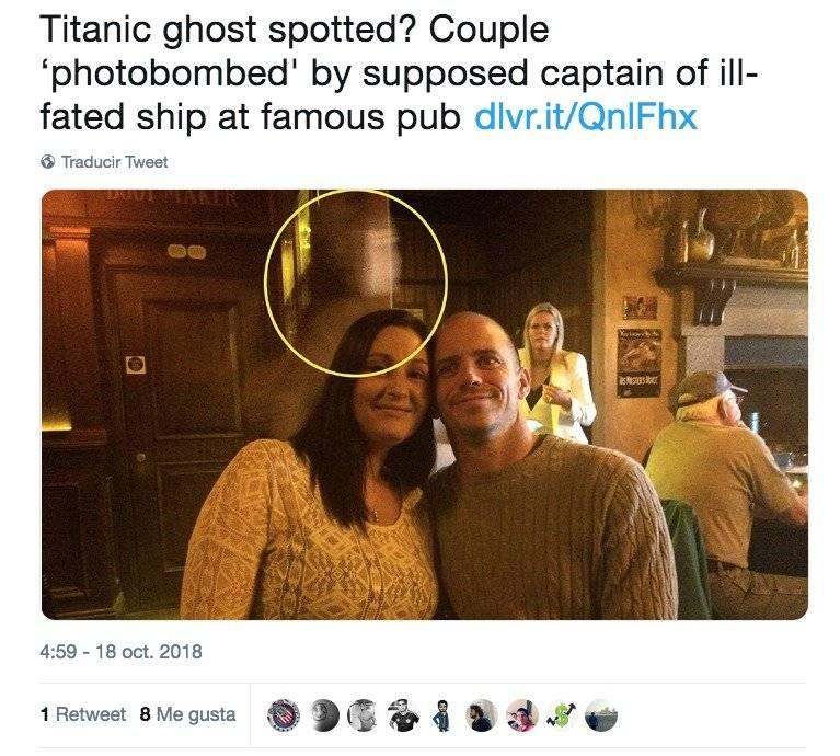 """""""Un fantasma del Titanic"""" se le apareció a una pareja en una selfie"""