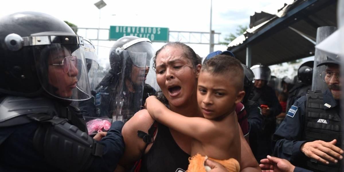 Dramáticas imágenes de la llegada de emigrantes hondureños a México