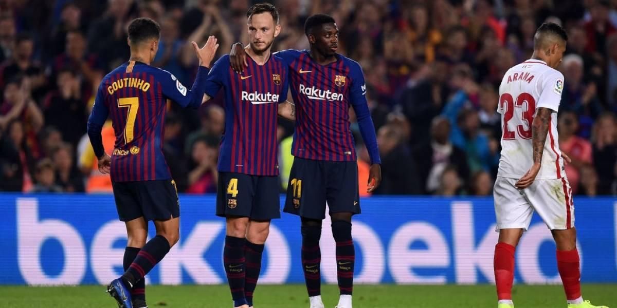 Barcelona baja a Sevilla en un duro partido para Messi y queda puntero de la Liga
