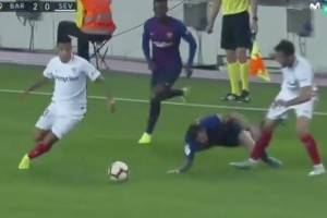 VIDEO: Tremenda lesión de Messi en duelo ante Sevilla