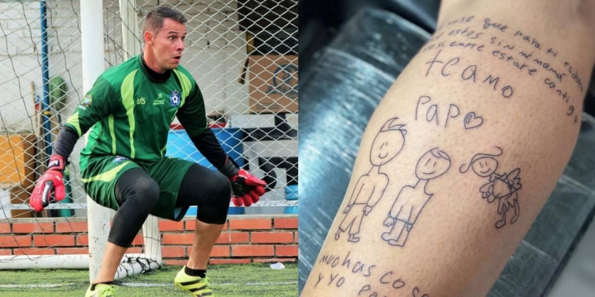 Futbolista se tatúa dibujo que su hijo le regaló al morir su esposa de cáncer