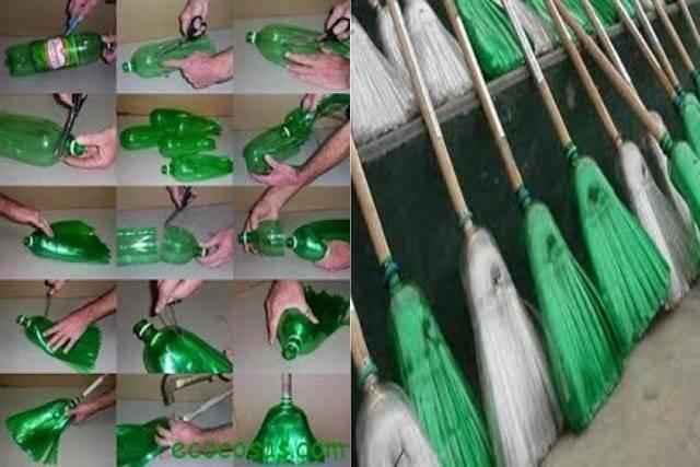 escobas con botellas de plástico