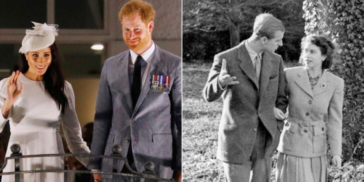 Meghan Markle e príncipe Harry recriam cena histórica de rainha Elizabeth II e Philip