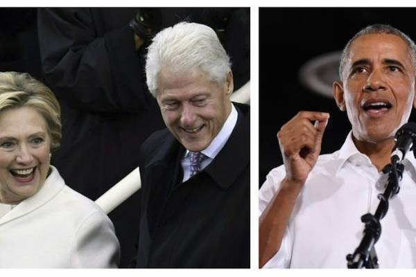 Hillary y Bill Clinton y Barack Obama