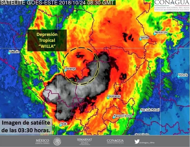 Tormenta tropical Willa Foto: CONAGUA