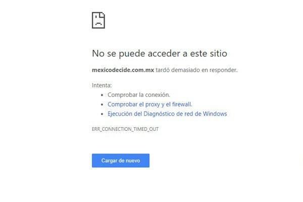Página de México Decide falla