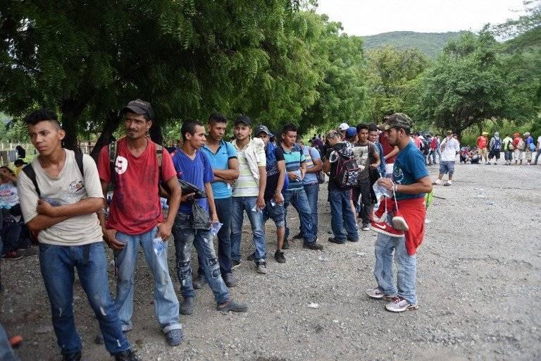 Caravana de migrantes hondureños. Foto: AFP