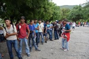 Caravana de migrantes hondureños.