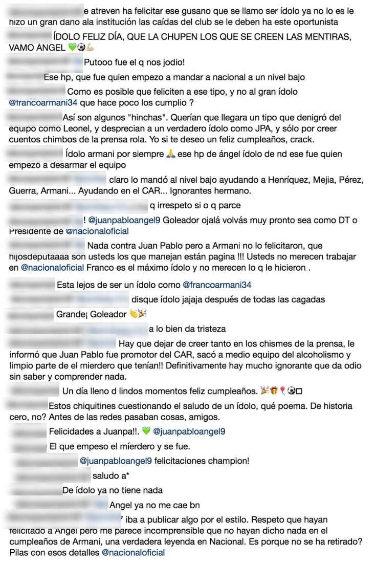 Hinchas por mensaje de Nacional a Juan Pablo Ángel