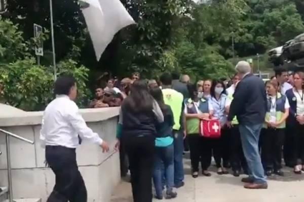 simulacro de evacuación por sismo en municipalidad de Guatemala