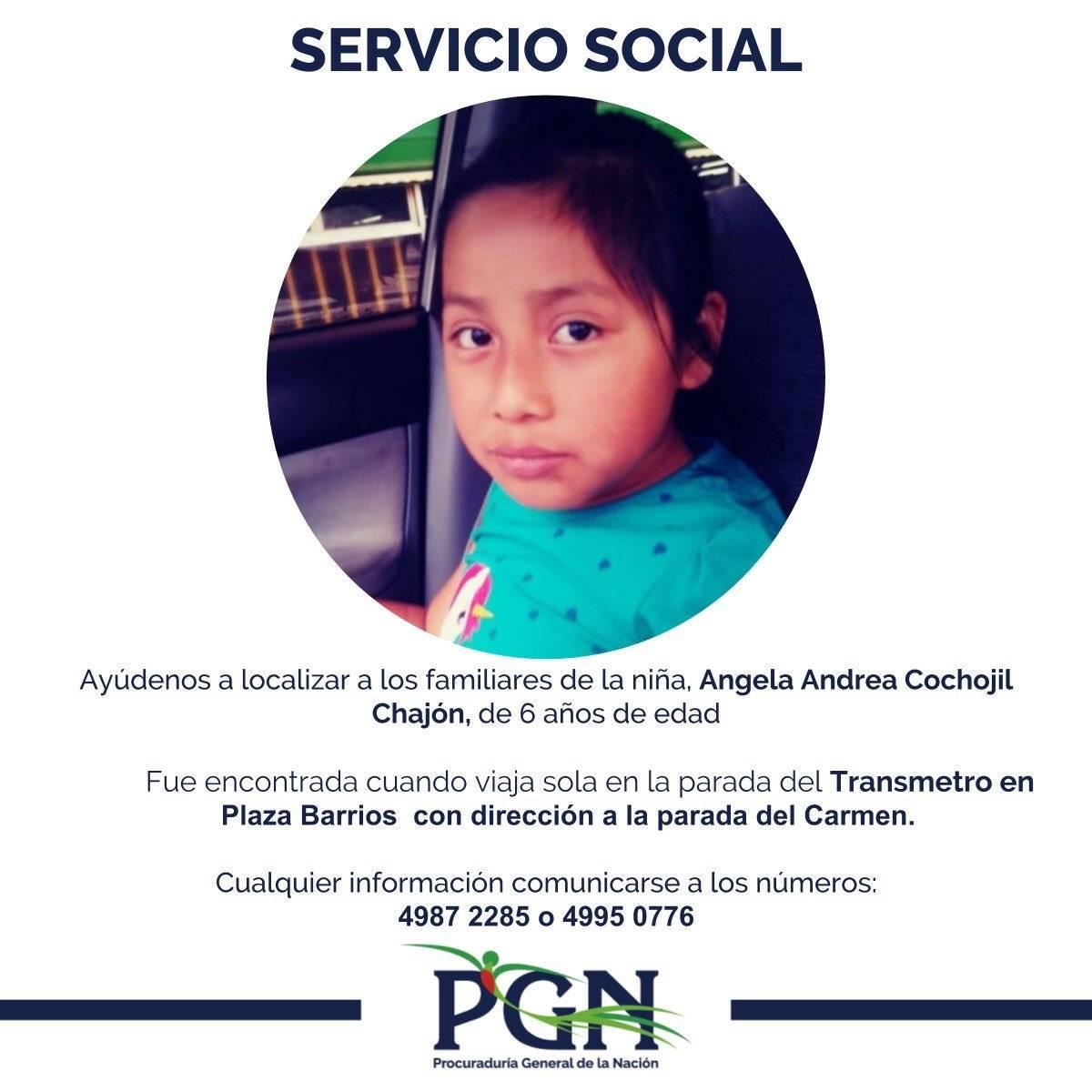 PGN busca a los padres de la niña Ángela Andrea Cochojil Chajón. Foto: PGN