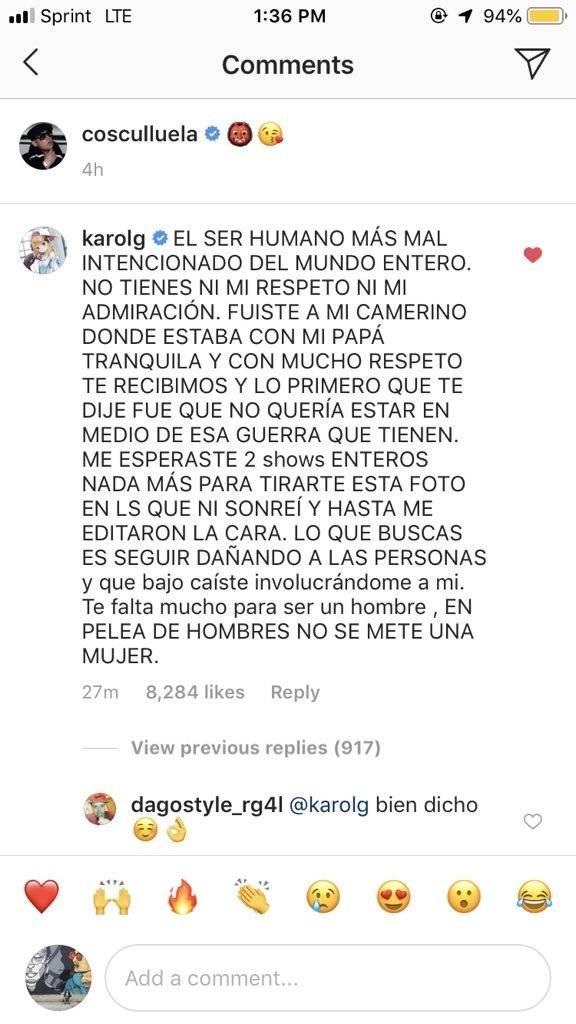Comentario de Karol G a Cosculluela