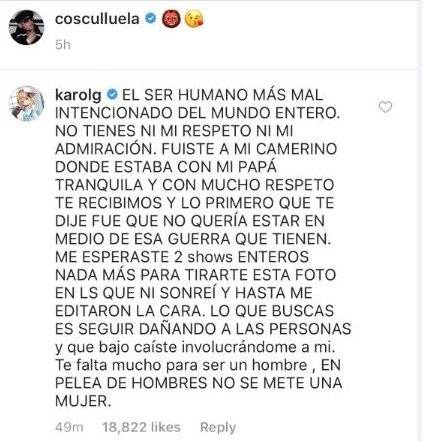 Karol G arremete contra el reguetonero Cosculluela
