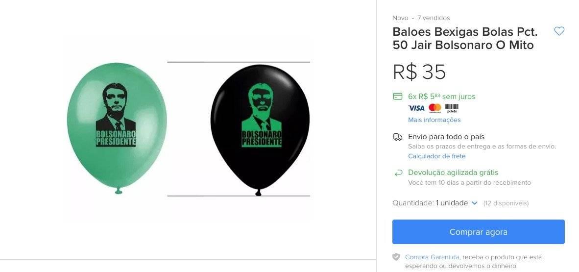 Balões bexigas Bolsonaro