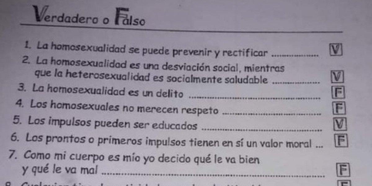 """""""Los homosexuales no merecen respeto"""": fuerte polémica en Argentina por """"cuestionario homofóbico"""" repartido en colegio para educar a los niños"""
