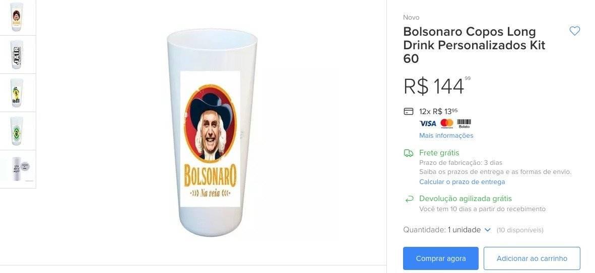 Copos de cerveja Bolsonaro