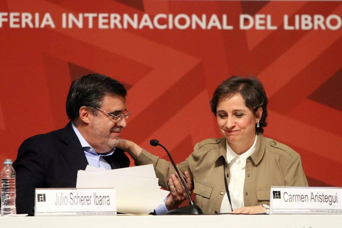 Julio Scherer Ibarra y Carmen Aristegui en el Homenaje al Periodista Julio Scherer García Foto: Cuartoscuro