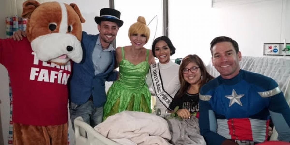 Miss Universe Puerto Rico visita a los pacientes con cáncer vestida de princess Leia
