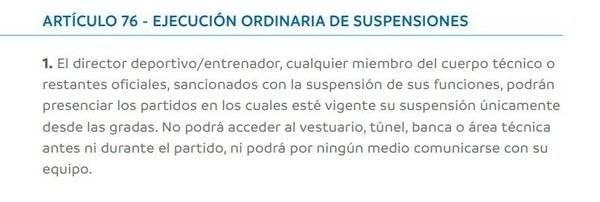 El artículo 76 del Reglamento Disciplinario de la Conmebol que puede complicar a River Plate / Foto: Captura