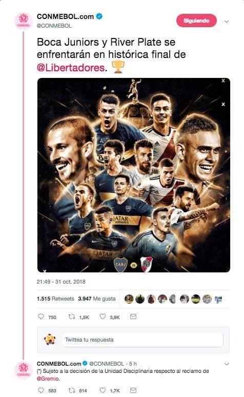 Final de libertadores de Boca Juniors VS River Plate o Gremio
