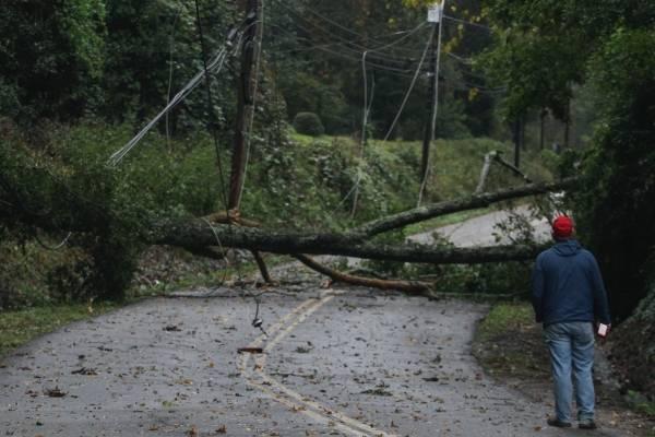 Carl Upton, de Vicksburg Video, inspecciona los daños a cables eléctricos causados por tormentas en el sur de Estados Unidos que dejaron al menos dos muertos, en Vicksburg, Mississippi, jueves 1 de noviembre de 2018