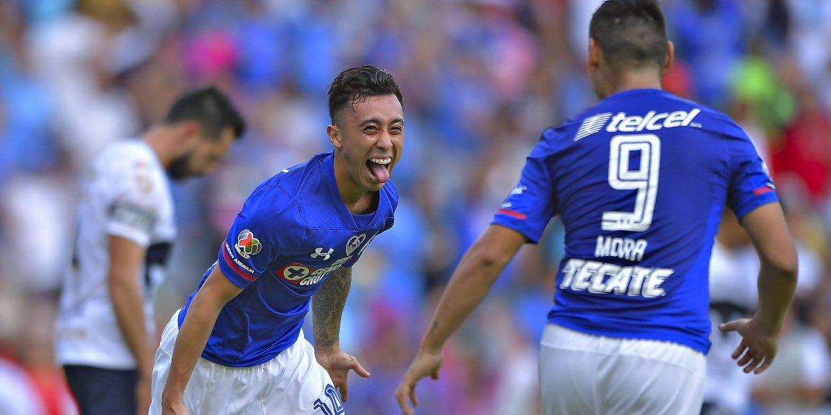 Mora y Rodríguez, autores de la última goleada de Cruz Azul a Pumas