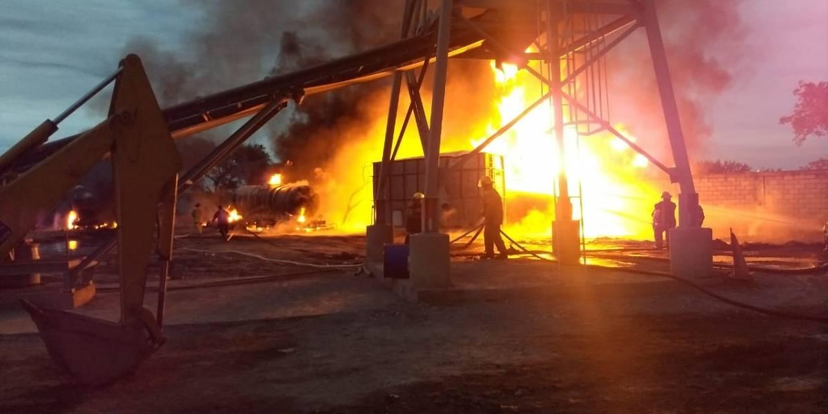 Incendio en fábrica de concreto en Guadalupe, Nuevo León